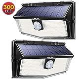 300 LED Lampe Solaire Exterieur de Détecteur de Mouvement, 3 Modes d'éclairage à...