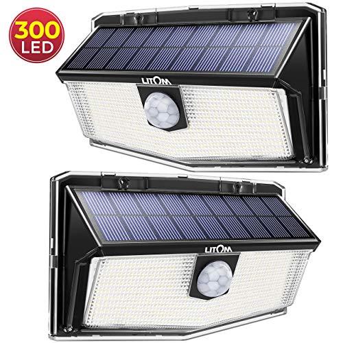 300 LED Lampe Solaire Exterieur de Détecteur de Mouvement, 3 Modes d'éclairage à Grand Angle 270° IP67 étanche, Lumière Murale Puissante Spot Solaire pour Jardin, Garage, Allé, Entrée - 2 Pièces