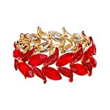 Clearine Braccialetto Matrimonio Sposa Bracciale per Donne Marquise-Forma Foglia Tratto Bangle Bracciale Rosso Oro-Fondo