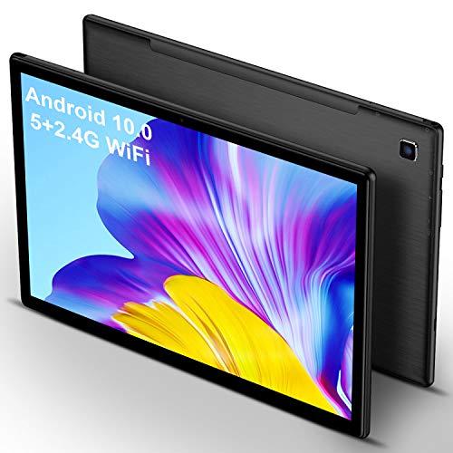 5G Tablet 10 Pollici con Wifi Offerte 4GB RAM 64GB 128GB Espandibili Android 10.0 Certificato Google GMS 1.6Ghz Tablet PC Quad Core 6000mAh 5+2MP Tablet WiFi Versione Bluetooth GPS Netflix(Nero)