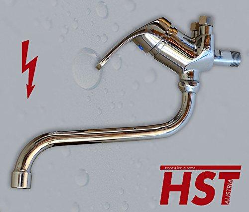 Wand Niederdruck Spültish Küchenarmatur Einhebelmischer Wasserhahn HSTA10 (18 cm Auslauflänge) (+Panzerschlauchset)