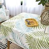 X-Labor Mantel de hojas con encaje, rectangular, de algodón y lino, fácil cuidado, para jardín, habitación, decoración de mesa (100 x 140 cm, verde)