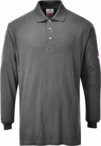 Portwest FR Poloshirt, antistatisch, langärmelig, Medium, grau, 1
