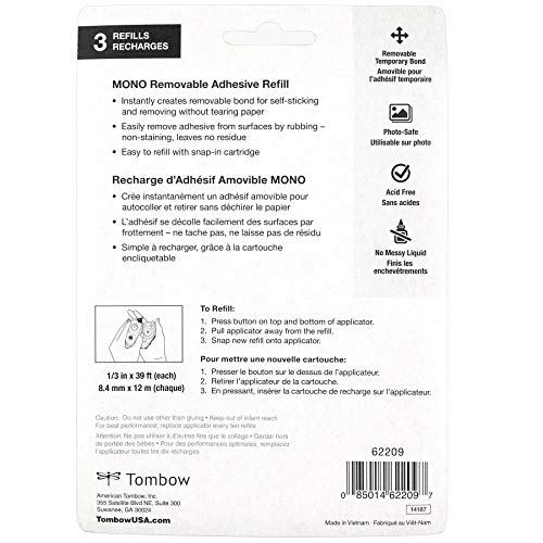 Tombow 62209 MONO Removable Adhesive Refill, 3-Pack. Easy to Refill For Clean, Removable Bond. Photo #6