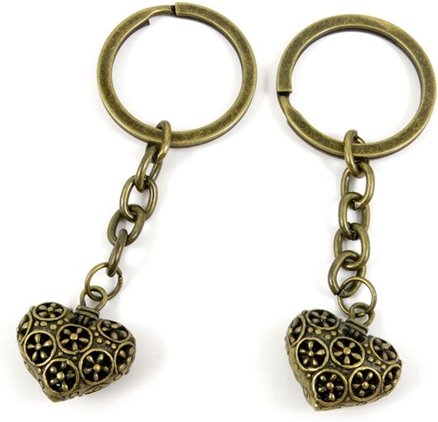 100 PCS Keyrings Keychains Key Ring Chains Tags Jewelry Findings Clasps Buckles Supplies B9MG8 Hollow Heart