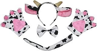 Petitebella Pink Cow Headband Bowtie Tail Gloves 4pc Children Costume