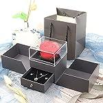 hrsptudorc preserved red rose jewelry gift drawer box, handmade enchanted forever rose flower gift box, black