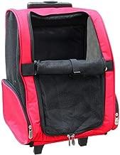 LINZXU-Trolley-Tasche Pet Carrier Backpack Atmungsaktiv Waschbarrucksack Carrier Bag Oxford Tuch Mesh-Oberlicht Langlebig,Red