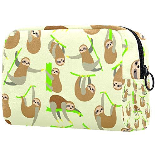 Make-up-Tasche, Motiv: süße Kaninchen und Maulkorb, mit Punkten, mehrfarbig