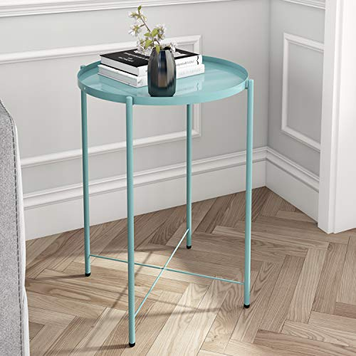 Joolihome Metal End Table, Small Round Sofa Side Table with Detachable Tray Top, Outdoor & Indoor Snack Coffee Table for Living Room, Hallway, Bedroom, Garden, Terrace, Balcony (Blue)