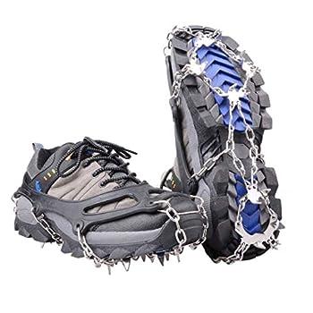Azarxis Crampons Antidérapant 19 Dents pour Chassures Crampons de Glace en Acier Inoxydable pour Marche Randonnée Alpinisme Escalade sur Neige Glace (Noir, M)