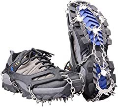 Azarxis Walk Traction Ice Snow Cleat Treads Grips Grippers Crampons Creepers with 19 Spikes for Shoes Boots Men Women Walking Climbing Hiking Fishing Heavy Duty Anti Slip Stainless Steel (Black, XL)