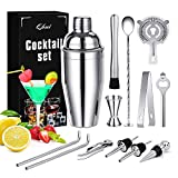 Qhui Cocktail Shaker, Cocktailset, Cocktail Set 750ml Barkeeper Geschenk mit Buch, Groß Cocktail Mixer für Zuhause oder die Bar, 14 Teiliges
