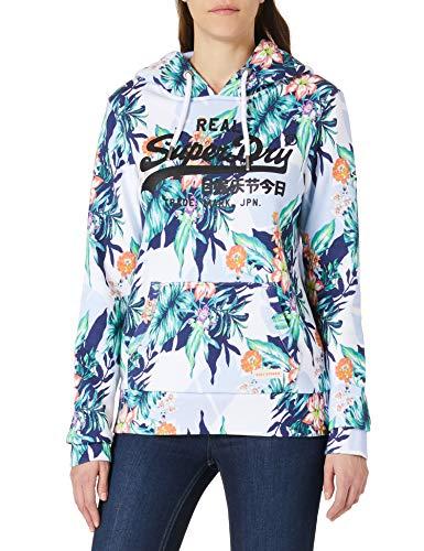 Superdry Womens VL AOP Hood Hooded Sweatshirt, Optic Hawaiian, L