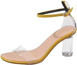 Verano Zapatillas de Mujer Una Palabra con Sandalias de tacón Gruesas Transparentes Zapatos de tacón Alto de Cristal riou