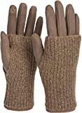 styleBREAKER Damen Touchscreen Stoff Handschuhe mit abnehmbaren Strick Stulpen, warme Fingerhandschuhe, Winter 09010022, Farbe:Taupe