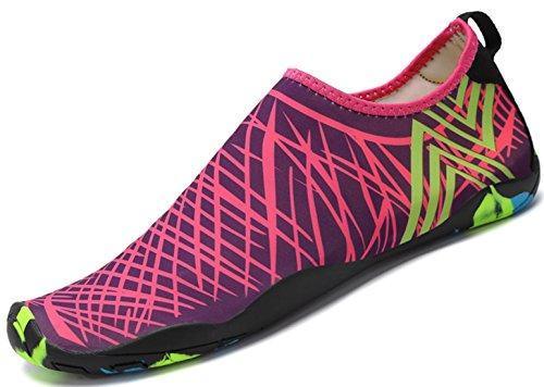 SAGUARO Unisex Badeschuhe Aquaschuhe Wasserschuhe Schwimmschuhe Weiche Atmungsaktiv Leicht rutschfest Schuhe für Damen Herren,Rose 39
