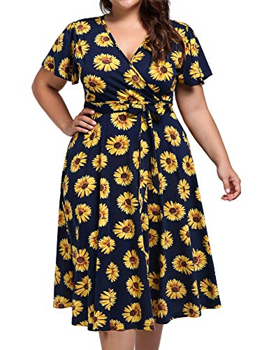 kissmay Women Bohemian Midi Dresses Plus Size, Cocktail Dress Plus Blue Nursing Dress with Sleeves Spring and Summer Dresses for Women 59s Pleats Flowy Rose Belt Dresses with Pockets Blue Yellow 3XL