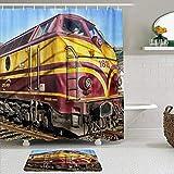 LISNIANY Conjunto De Ducha Cortina Alfombra,Tren Locomotora Luxemburgo Ferrocarril,Uso en baño, Hotel
