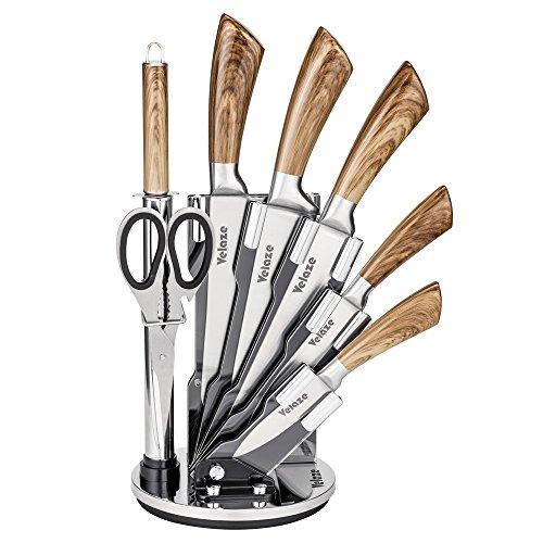 Velaze Messerblock Set, Messerset, Profi Kochmesser mit Drehbarem Messerblock, 8 teilig, Extra Scharf, rostfreier Edelstahl, ergonomischer Griffe, inkl. Küchenschere und Wetzstahl Stange, Holzfarbe