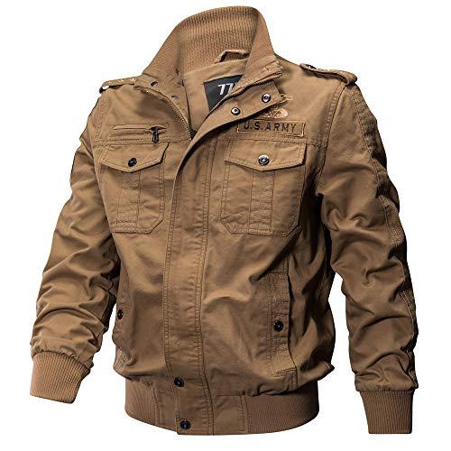 Yvelands Chaquetas de Trabajo Grandes y Altas para Hombres, Ropa Militar para Hombres Bolsillo Táctico Outwear Capa Transpirable(Khaki,XXXXL)