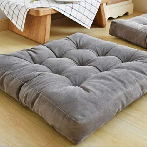 DANZUO Japanisches Tatami-Bodenkissen, Zafu-Sitzkissen, Bodenkissen, Sitzerhöhung, Stuhlkissen für Zen Yoga, anthrazitgrau, quadratisch 55 x 55 cm