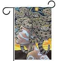 ガーデンヤードフラッグ両面 /28x40in/ ポリエステルウェルカムハウス旗バナー,ガラガラヘビ メデューサ