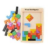 Holzpuzzle Tetris Tangram Puzzlespiel Pädagigisches Spielzeug für Kinder Bunte Hölzerne Puzzles...