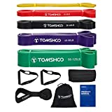 TOMSHOO Resistance Bands Set, 5Pcs Exercise Bands Workout Bands Elastic Bands for Exercise Pull Up Assistance Bands Fitness Bands Assist Set for Body Training, Strength, Weighted Gyms