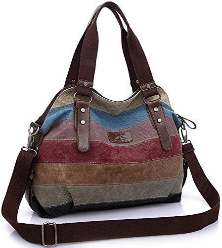 Korey Borsa Donna, Borse a Mano Borse Tela Borse Tracolla Multi Colore Strisce Borse a Spalla Borsetta Messenger Bag(Multicolore scuro)