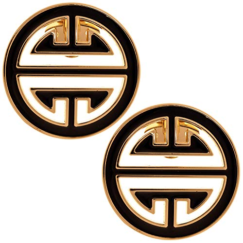 LOVE SHOES Damen 2 Schuhclips gold schwarz elegant Schmuck Clip Schuhe Saint Honore