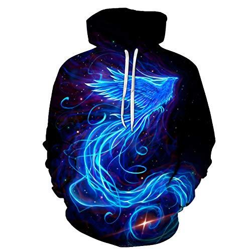 Dsti Unisex Mode 3D Blauw phoenix vogel Trui dier Hoodie Lange Mouw Sweatshirt Sport Casual met Zakken voor Tiener meisjes jongens