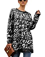ECOWISH Women's Oversized Leopard Print Sweater Long Sleeve Casual Camouflage Print Knitted Jumper Pullover Sweatshirts Tops Black Small