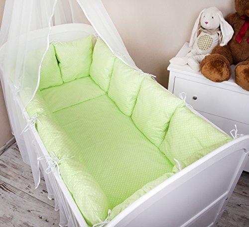 Baby-Set di biancheria da letto con copripiumino e federa cuscino per lettino, con paracolpi, motivo a pois, II, 100 x 135 cm, colore: verde