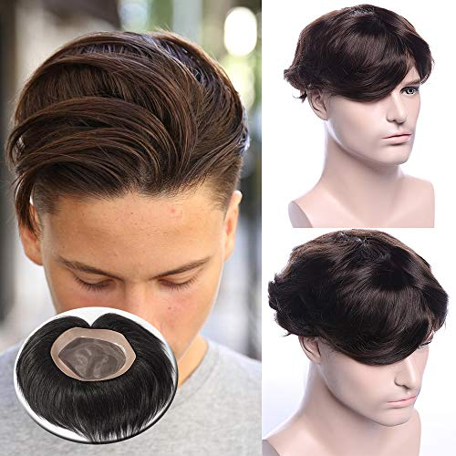 TESS Toupet für Männer Echthaar Extensions Toupee Herren Pony Haarteil Haarverlängerung Dunkelbraun Perücken 15 x 20 cm Mono Netz