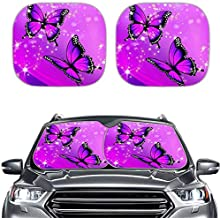 KUILIUPET 2-Piece Windshield Sun Shade Foldable Car Front Window Sunshade for Most Sports Cars SUV Truck - Heat Shield Reflector Cover - Blocks Max UV Rays & Keeps Your Vehicle Cool Butterfly Print