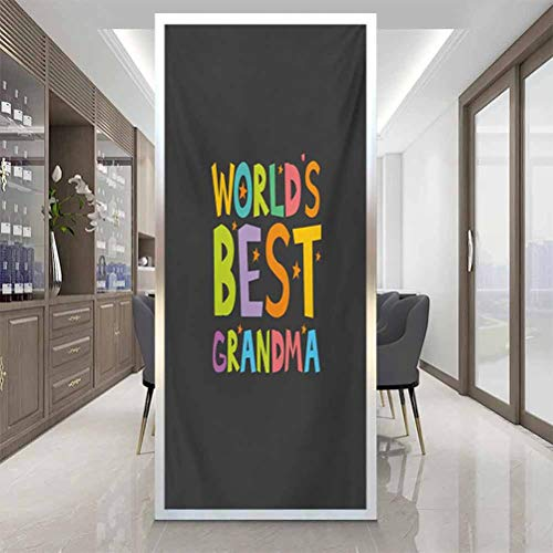 Office Film Privacy Window Sticker, Grandma Best Grandmother Quote with Colorful Letters Do, Home Window Tint Film Heat Control, W23.6 x H47.2 Inch