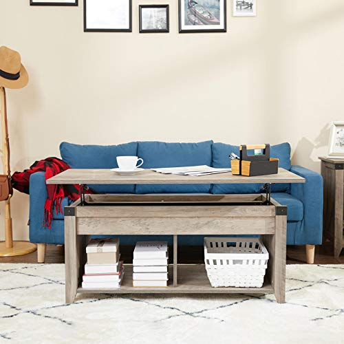 HOSEOKA Lift Top Coffee Table with Storage Compartment & Open Shelf, Extendable Farmhouse Coffee Table for Living Room, 41 Inch