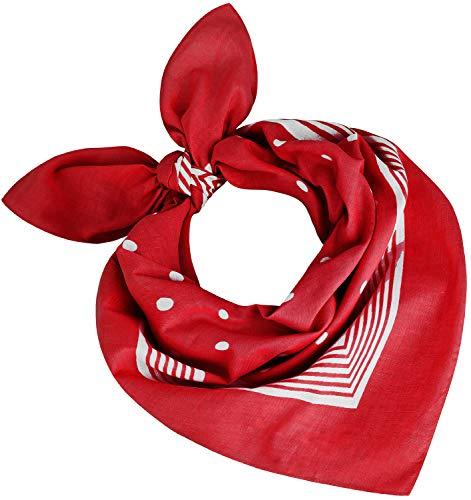 Tobeni 000803 Damen Herren Nickituch Kopftuch Bandana Halstuch Punkte Baumwolle Unisex Farbe Rot Grösse 55 cm x 55 cm