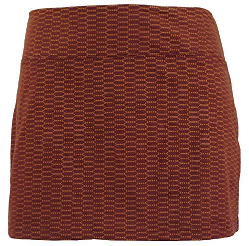 GURU SHOP Minirock aus Bio-Baumwolle, Hüftschmeichler, Organic Yoga Rock, Damen, Rostorange, Size:L/XL (40), Röcke/Kurz Alternative Bekleidung