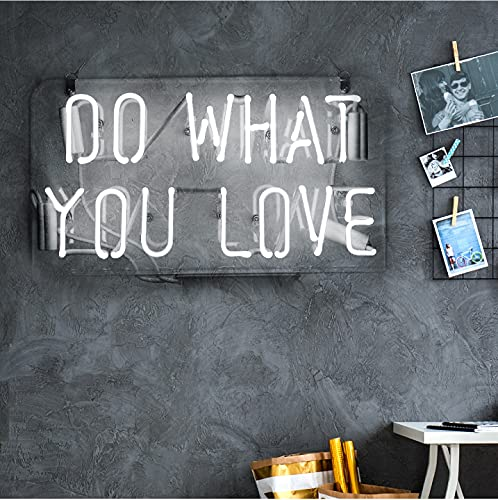 Neon Sign Do What You Love, Neon Light Sign with Real Neon Glass, Cool Wall Hanging Light for...