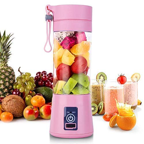 fovty Portable USB Electric Blender Juicer Cup Smoothie Maker Electric Juice Maker Machine for Fruits and Vegetables 380ml Juicer Cup Bottle 4 Blade (Multicolour)