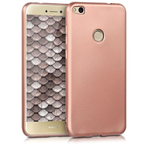 kwmobile Funda Compatible con Huawei P8 Lite (2017) - Carcasa móvil de Silicona - Protector Trasero en Oro Rosa Metalizado