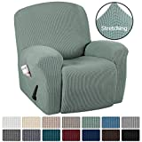 H.VERSAILTEX Stretch Recliner Slipcovers 1-Piece Durable Soft High Stretch Jacquard Sofa Furniture Cover Form Fit Stretch Stylish Recliner Cover/Protector (Recliner, Sage)