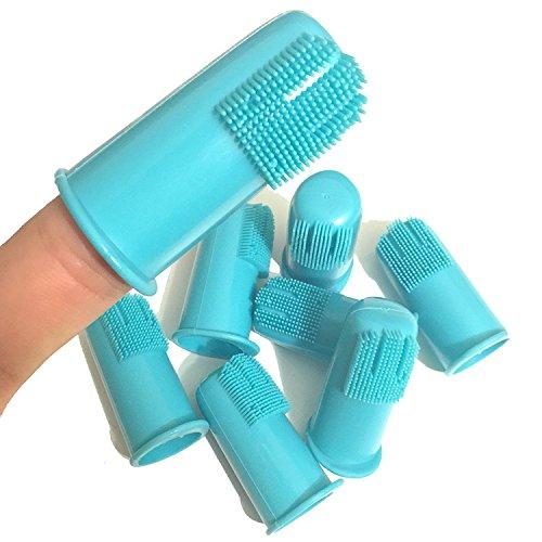 Tandborste med hundfinger från H&H Pets   bästa professionella tandborste, bra tandhygien, silikonalternativ, värdepaket med 4 eller 8 (storlek stor (standardborst), 8 stycken)