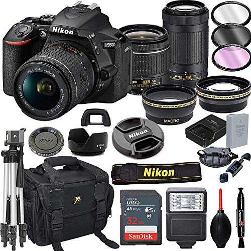 Nikon D5600 DSLR Camera with 18-55mm VR and 70-300mm VR Lenses + 32GB Card, Tripod, Flash, and More(21pc Bundle)