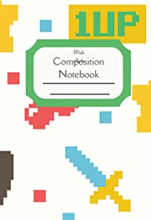Composition Notebook Wide Rule: Old school retro video game standard wide ruled composition notebook journal for all writi...