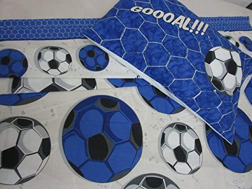 Juego de cama individual con diseño de equipos de fútbol, color negro/azul, 100 % algodón de fibra natural, fabricado en Italia.