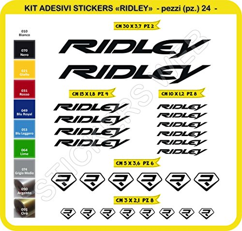 Ridley Kit Fahrräder Selbstklebende Aufkleber Aufkleber 24?SCEGLI erlitten colore- Bike Cycle PEGATINA Cod. 0107 - Nero cod. 070