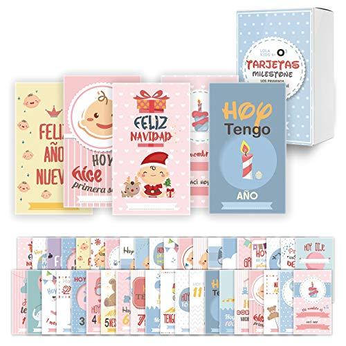 O³ Milestone Baby Cards Lola Kids – 40 Cartas En Español Para Primer Año De Bebé Con Caja De Regalo - Diseño Único | Tarjetas De Recuerdo - Tarjetas Milestone - Regalos Recien Nacidos - Babyshower